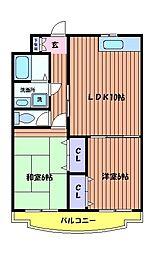東京都日野市東豊田3丁目の賃貸マンションの間取り