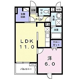 Osaka Metro谷町線 大日駅 徒歩25分の賃貸マンション 2階1LDKの間取り