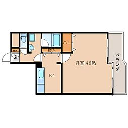 近鉄京都線 平城駅 徒歩18分の賃貸マンション 1階1Kの間取り