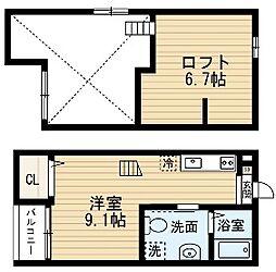 愛知県名古屋市南区豊田1の賃貸アパートの間取り