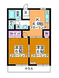 第3中平野ハウス[102号室]の間取り