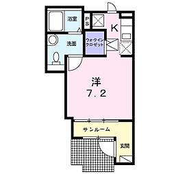 小田急小田原線 新百合ヶ丘駅 徒歩10分の賃貸アパート 1階1Kの間取り
