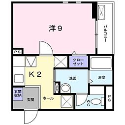千葉県松戸市常盤平5丁目の賃貸アパートの間取り