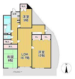 サングレート野中II[4階]の間取り