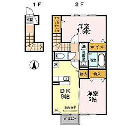 富山県富山市新庄町4丁目の賃貸アパートの間取り