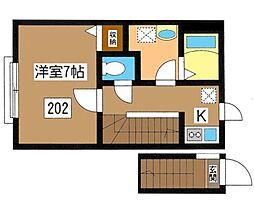 東京都豊島区池袋2丁目の賃貸アパートの間取り