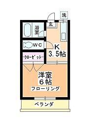 第二田辺コーポ[107号室]の間取り