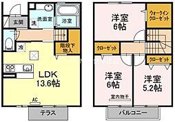 [テラスハウス] 岡山県倉敷市笹沖丁目なし の賃貸【/】の間取り