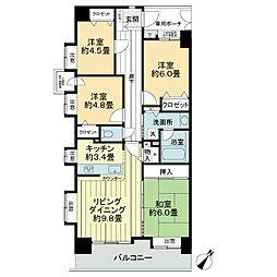 ライオンズガーデンシティ成田[4階]の間取り