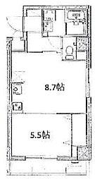 JR山手線 大塚駅 徒歩8分の賃貸マンション 4階1DKの間取り