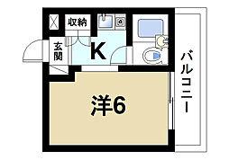 ふじやマンション 2階ワンルームの間取り