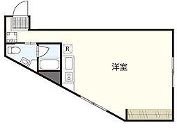 ベルハイム井口鈴が台 2階ワンルームの間取り