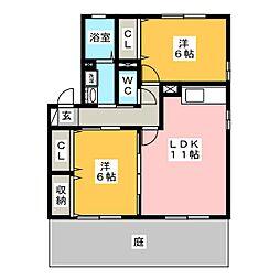 セジュール八幡[1階]の間取り