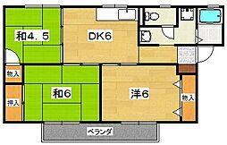 大阪府枚方市山之上1丁目の賃貸アパートの間取り