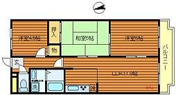 東京都三鷹市北野2丁目の賃貸マンションの間取り