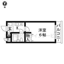 DETOM-1東福寺103[1階]の間取り