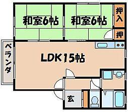 広島県安芸郡海田町上市の賃貸アパートの間取り