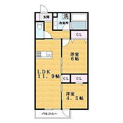 D−room赤井二丁目[2階]の間取り