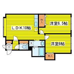 北海道札幌市東区東苗穂四条1丁目の賃貸アパート 3階2LDKの間取り