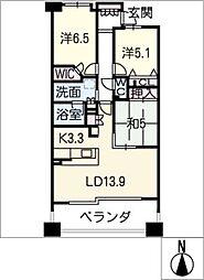 ロイヤルアークソレイス上小田井503号室[5階]の間取り