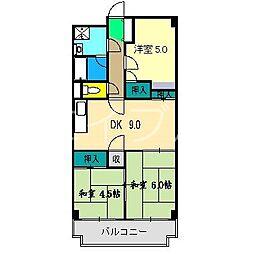 高須スカイハイツ[6階]の間取り