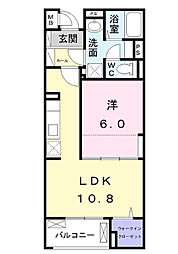 JR中央線 八王子駅 バス19分 宇津木下車 徒歩8分の賃貸マンション 2階1LDKの間取り