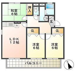 クラインベルクA棟[2階]の間取り