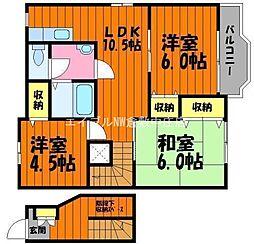 岡山県倉敷市三田丁目なしの賃貸アパートの間取り