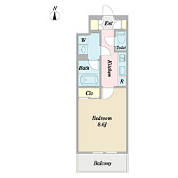 プロシードTX流山セントラルパーク 6階1Kの間取り