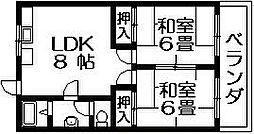 村岡グリーンマンション南向き[3階]の間取り