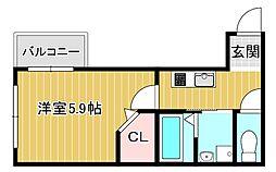 阪神本線 青木駅 徒歩6分の賃貸アパート 3階1Kの間取り