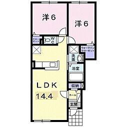 北海道札幌市白石区川下三条6丁目の賃貸アパートの間取り