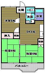 石坂スカイハイツ[3階]の間取り