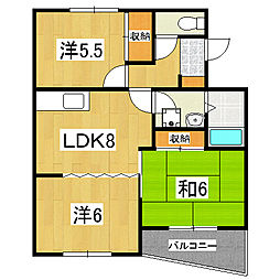カーサIKUSHIMA[202号室]の間取り