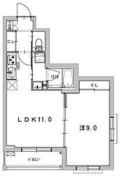 ルイーズ 3階1LDKの間取り