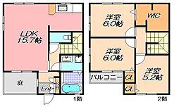 兵庫県神戸市北区谷上南町の賃貸アパートの間取り