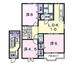 広島県広島市佐伯区五日市町大字上河内の賃貸アパートの間取り