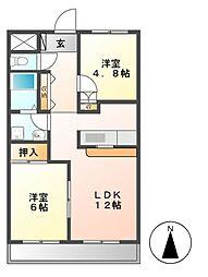 愛知県名古屋市中川区東中島町7の賃貸マンションの間取り