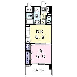 バス 与儀下車 徒歩7分の賃貸アパート 3階1DKの間取り