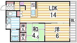 大阪府大東市新町の賃貸マンションの間取り