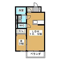 レーベングロースK B号棟[1階]の間取り