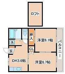 兵庫県神戸市垂水区西舞子9丁目の賃貸アパートの間取り