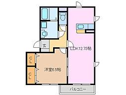 三重県鈴鹿市安塚町の賃貸アパートの間取り