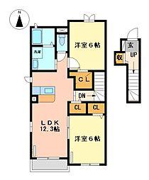 愛知県弥富市平島町五反割の賃貸アパートの間取り