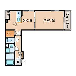 JR東海道本線 東静岡駅 徒歩12分の賃貸アパート 2階1DKの間取り