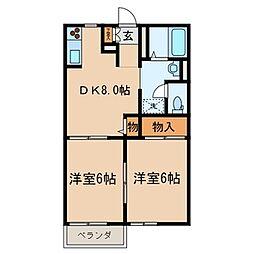 アビタシオン松江B[2階]の間取り