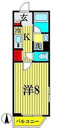 京成押上線 京成曳舟駅 徒歩6分の賃貸マンション 2階1Kの間取り