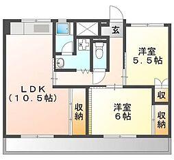 ビレッジハウス中村(R) 3階2LDKの間取り