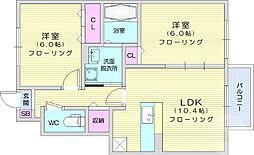 グランシューベル壱番館 1階2LDKの間取り