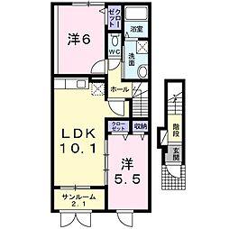 新潟県新潟市中央区親松の賃貸アパートの間取り